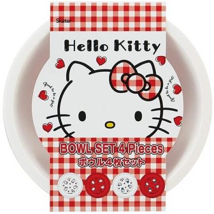 小禮堂 Hello Kitty 日製 美耐皿碗組 露營飯碗 兒童碗 沙拉碗 點心碗 (4入 白 愛心)