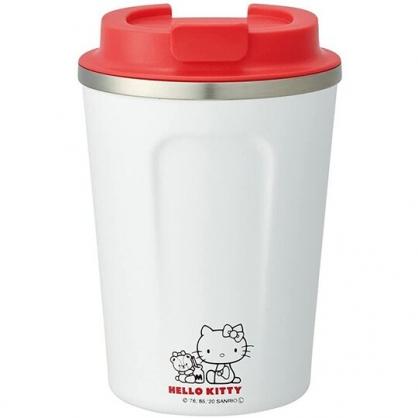 小禮堂 Hello Kitty 不鏽鋼隨行杯 不鏽鋼隨手瓶 咖啡杯 保溫杯 350ml (白 側坐)