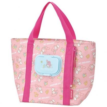 小禮堂 美樂蒂 船形尼龍抗菌便當袋 抽取式濕巾包 保冷袋 午餐袋 野餐袋 (粉 滿版)
