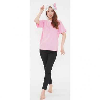 小禮堂 Hello Kitty 造型連帽短袖上衣 連帽上衣 薄上衣 T-shirt 帽T 棉T (粉 大臉)