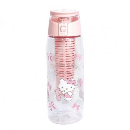 小禮堂 Hello Kitty 透明隨身冷水瓶 運動水壺 塑膠水瓶 隨身瓶 700ml (粉 小熊)