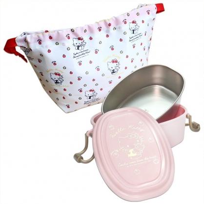 小禮堂 Hello Kitty 方形不鏽鋼隔熱便當盒 附束口袋 不鏽鋼餐盒 雙扣便當盒 550ml (粉 小熊)