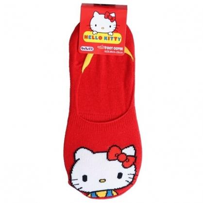 小禮堂 Hello Kitty 成人短襪 隱形襪 及踝襪 船形襪 棉襪 腳長23-25cm (紅 大臉)