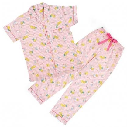 小禮堂 Hello Kitty 襯衫式短袖長褲居家服 襯衫居家服 睡衣睡褲 運動服 (粉 直紋)