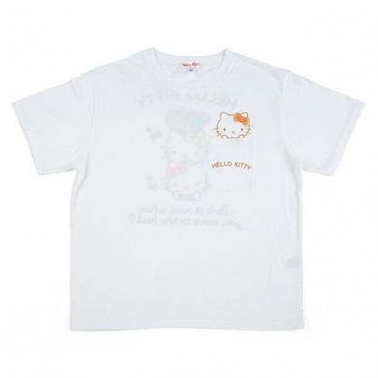 小禮堂 Hello Kitty 圓領棉質短袖上衣 口袋上衣 印花T T-shirt 短T 棉T (白 口袋大臉)