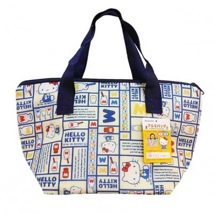 小禮堂 Hello Kitty 船形尼龍保冷便當袋 保冷提袋 保溫袋 午餐袋 銅板小物 (藍 格圖)