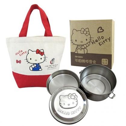小禮堂 Hello Kitty 圓形不鏽鋼便當盒 附便當袋 蒸煮便當盒 雙扣便當盒 環保餐盒 800ml (銀 大臉)