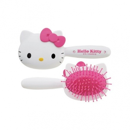 小禮堂 Hello Kitty 造型塑膠手握梳 氣墊梳 直髮梳 直梳 (白 大臉)