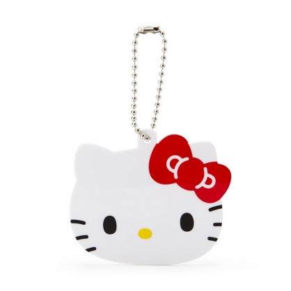 小禮堂 Hello Kitty 造型塑膠捲線器吊飾 集線器 繞線器 鑰匙圈 USB線收納 (白 大臉)