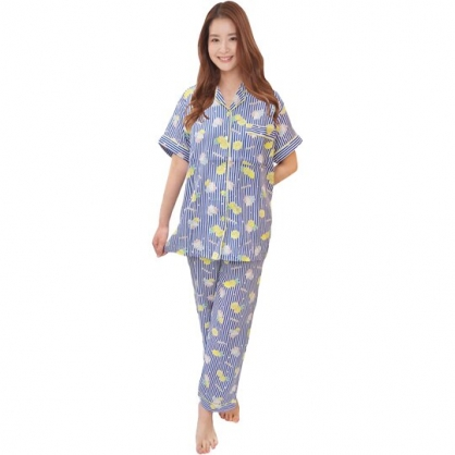 小禮堂 Hello Kitty 襯衫式短袖長褲居家服 襯衫居家服 睡衣睡褲 運動服 (藍 檸檬)