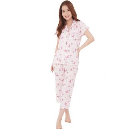 小禮堂 Hello Kitty 襯衫式短袖長褲居家服 襯衫居家服 睡衣睡褲 運動服 (粉 兔裝)