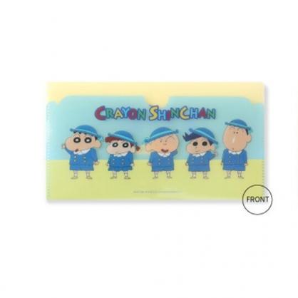 小禮堂 蠟筆小新 塑膠口罩夾 信封口罩夾 口罩包 口罩套 (藍 制服)