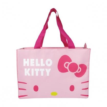 小禮堂 Hello Kitty 船形尼龍保冷側背袋 保冷提袋 保溫袋 野餐袋 購物袋 (粉 大臉)