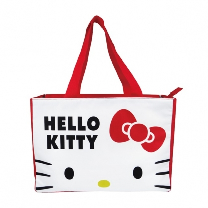 小禮堂 Hello Kitty 船形尼龍保冷側背袋 保冷提袋 保溫袋 野餐袋 購物袋 (紅 大臉)