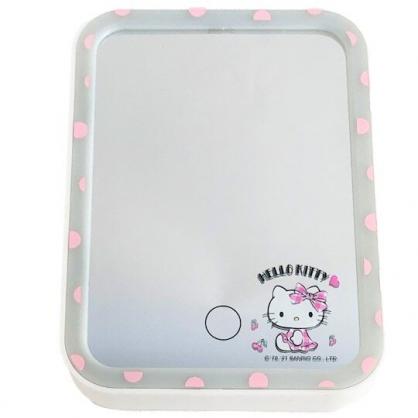小禮堂 Hello Kitty 方形LED化妝鏡 補光燈化妝鏡  美妝鏡 桌鏡 立鏡 (粉 櫻桃)