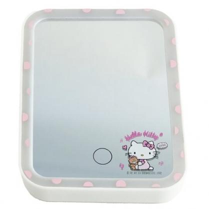 小禮堂 Hello Kitty 方形LED化妝鏡 補光燈化妝鏡  美妝鏡 桌鏡 立鏡 (粉 小熊)