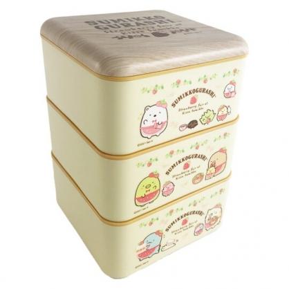 小禮堂 角落生物 方形三層微波便當盒 塑膠便當盒 塑膠餐盒 過年餅乾盒 糖果盒 (黃 草莓)