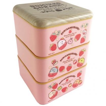 小禮堂 角落生物 方形三層微波便當盒 塑膠便當盒 塑膠餐盒 過年餅乾盒 糖果盒 (粉 草莓)