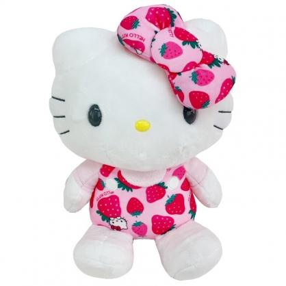 小禮堂 Hello Kitty 12吋絨毛玩偶 絨毛娃娃 中型玩偶 布偶 (粉色草莓)