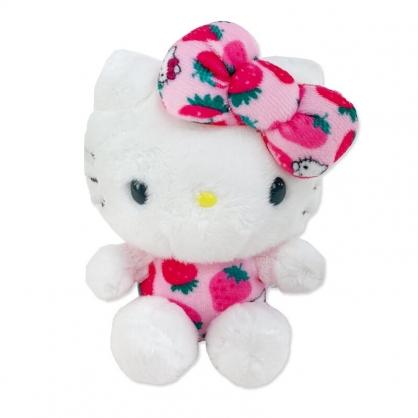小禮堂 Hello Kitty 迷你沙包玩偶 絨毛玩偶 絨毛娃娃 小玩偶 布偶 (粉色草莓)