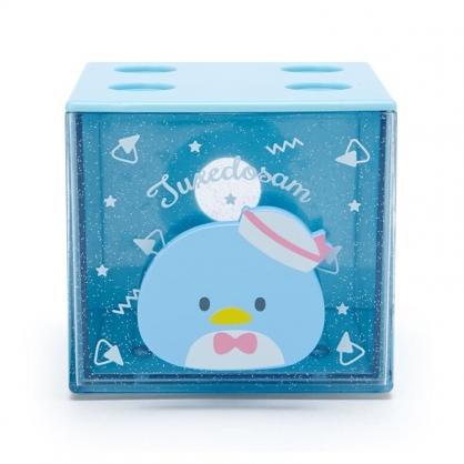 小禮堂 山姆企鵝 方形單抽收納盒 透明抽屜盒 堆疊收納盒 積木盒 飾品盒 (藍 果凍文具)