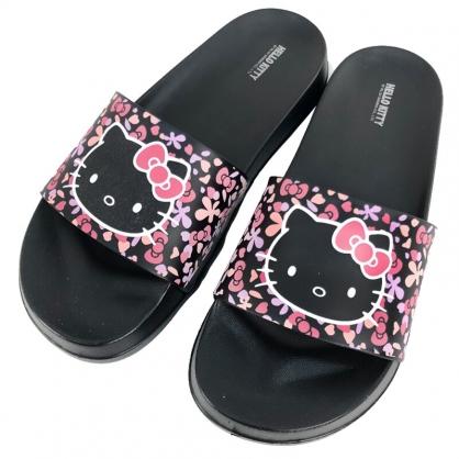 小禮堂 Hello Kitty 厚底拖鞋 腳長 (黑花朵款)