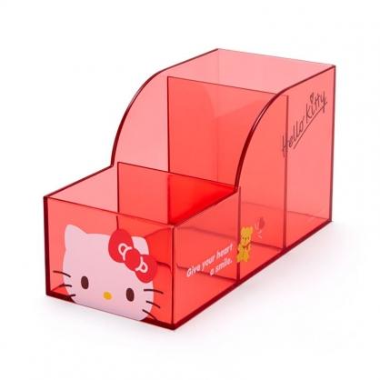小禮堂 Hello Kitty 透明三格筆筒 (果凍文具系列)