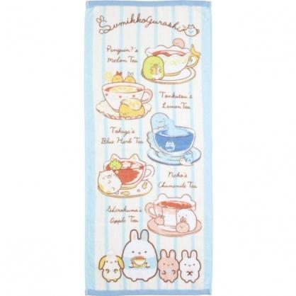 小禮堂 角落生物 純棉長毛巾 34x80cm (藍午茶款)