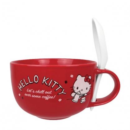 小禮堂 Hello Kitty 新骨瓷湯杯 附匙 (紅咖啡款)
