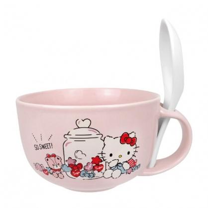 小禮堂 Hello Kitty 新骨瓷湯杯 附匙 (粉糖果款)