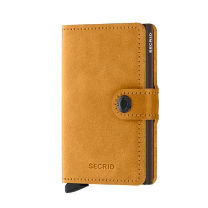 SECRID Vintage 單層 防盜刷 復古懷舊皮革真皮皮夾(黃色)