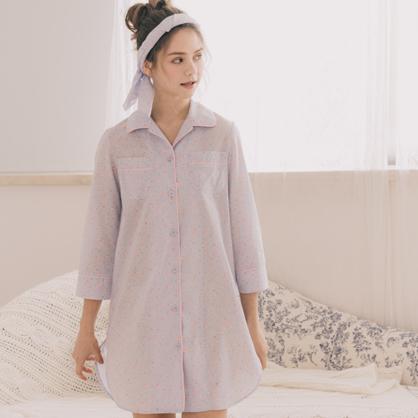 家居服 Hush 春風起舞 西裝領襯衫洋裝-藍花