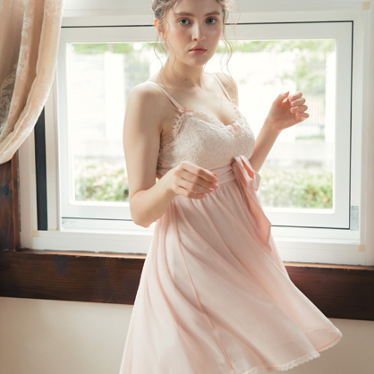 家居服 Hush 一抹粉色 帶襯墊透膚雪紡洋裝