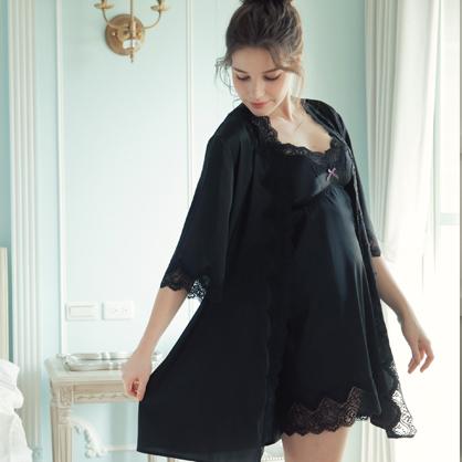 家居服 Hush 星空耀眼 蕾絲輕膚柔軟緞面綁帶外袍罩衫