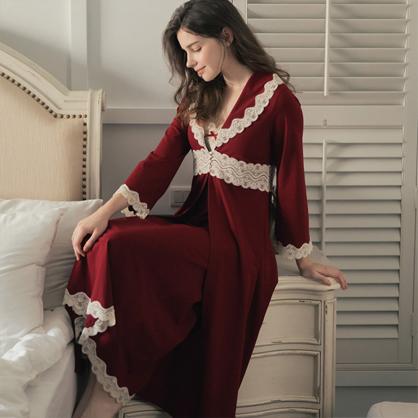 家居服 Hush 天生尤物 柔軟綁帶外袍罩衫-胭脂紅