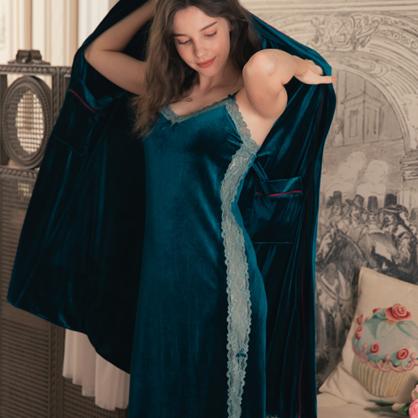 無鋼圈睡衣 Hush【獨家2in1】 絢麗年代 經典絲絨蕾絲洋裝家居服-墨綠
