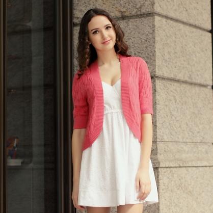 自然隨性針織外套-粉色