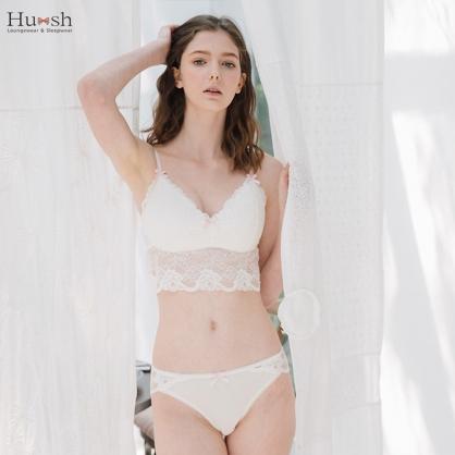 內衣 Hush 白色戀人 蕾絲成套無鋼圈內衣(貼身衣物不做退換)