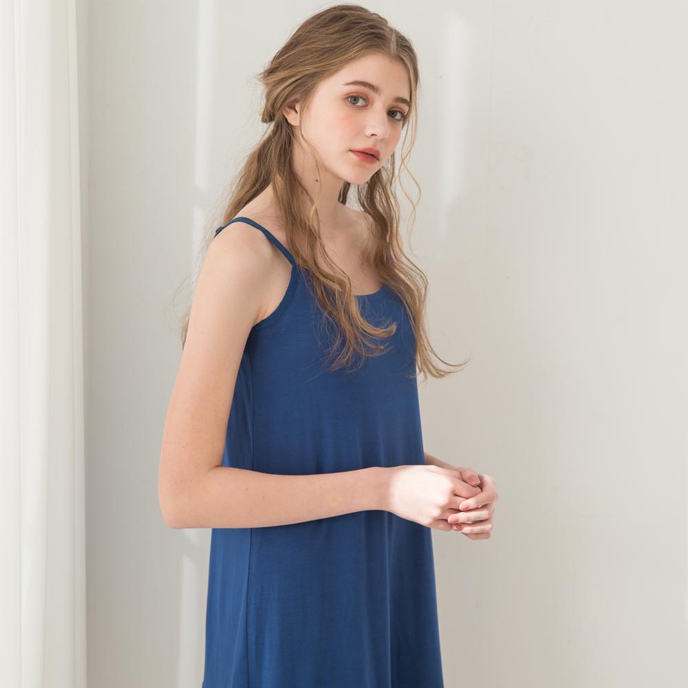 無鋼圈睡衣 Hush【獨家2in1】無暇精靈 素面蕾絲棉柔短洋裝家居服-深藍