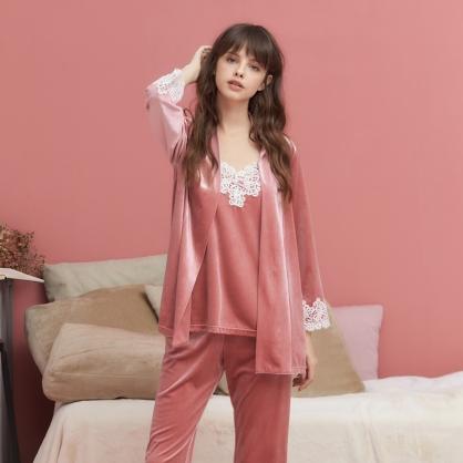 家居服 Hush 凡爾賽玫瑰 經典絲絨蕾絲外袍罩衫-玫瑰粉