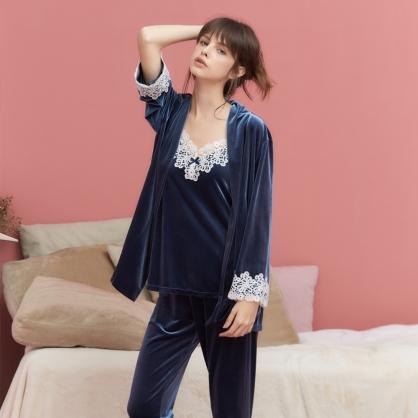 家居服 Hush 凡爾賽玫瑰 經典絲絨蕾絲外袍罩衫-深海藍