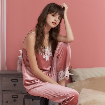 家居服 Hush 凡爾賽玫瑰 經典絲絨蕾絲長褲套裝-玫瑰粉