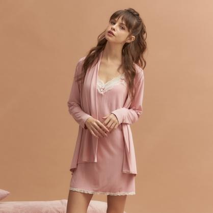 【兩件組 - 洋裝+外袍】無鋼圈睡衣 Hush【獨家2in1】法國香頌 莫代爾棉 - 溫柔玫瑰色
