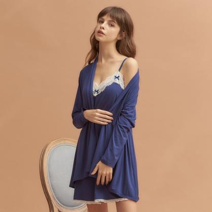 【兩件組 - 洋裝+外袍】無鋼圈睡衣 Hush【獨家2in1】法國香頌 莫代爾棉 - 典雅湛藍