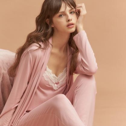 【三件組 - 套裝+外袍】無鋼圈睡衣 Hush【獨家2in1】法國香頌 莫代爾棉 - 溫柔玫瑰色