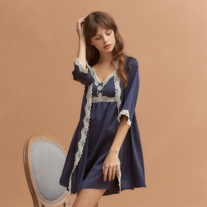 【洋裝+外袍】家居服 Hush 皇后日常 輕膚柔軟緞面 - 皇家藍