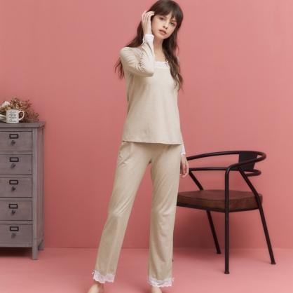 家居服 Hush 第二代法式宮廷優雅褲衣兩件式 - 奶茶色