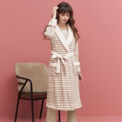 家居服 Hush 第二代日常簡約條紋超柔軟外袍外套 - 摩卡棕