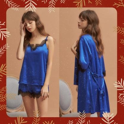 【三件組 - 兩件式+外袍】無鋼圈睡衣 Hush【獨家2in1】奢華耶誕 - 藍