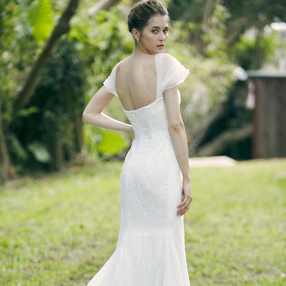 Daphne+Yetta流沙珠繡活動式網紗婚紗